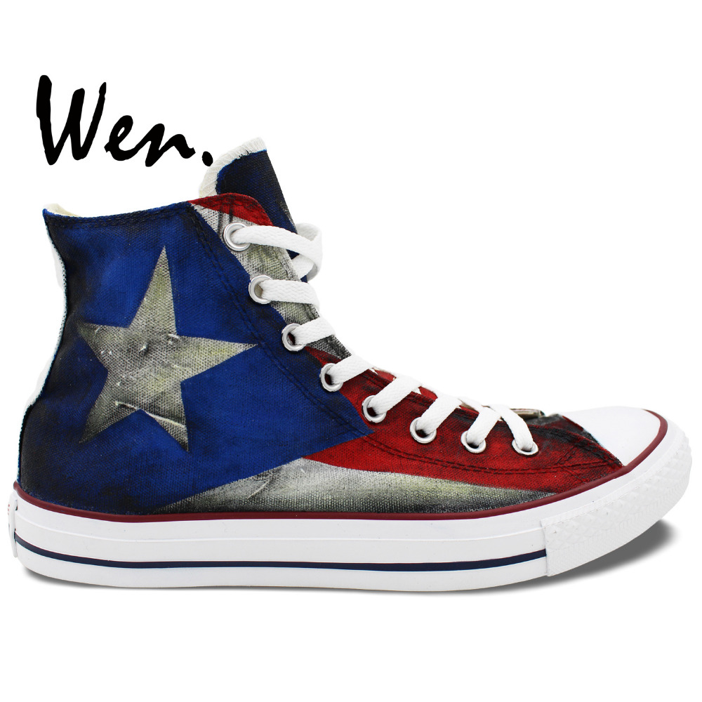 Wen Hand Painted Shoes Custom Design Puerto Rico Flag Men -4896