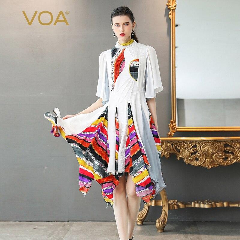 VOA de seda Plus tamaño 5XL vestidos de las mujeres Vintage elegante blanco de cuello alto Irregular dulce chino media manga verano A383
