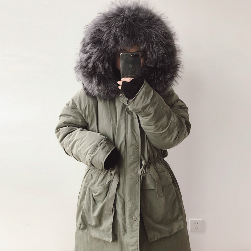 2017 Womens Down Jackets Loose Oversize Thicken Big Real Raccoon Fur Luxury Europe Thicken Long Parka Warm Overcoat Down Coat