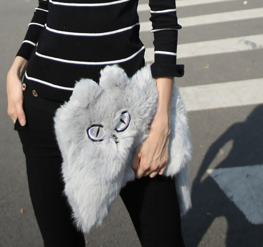 2015 New Women s Cute Fox fur Flap Envelope Handbags Girl s Hairy Shaggy  Embroidery Cat Faux Fur Clutch Bag -in Clutches from Luggage   Bags on ... b6ec488fb0817