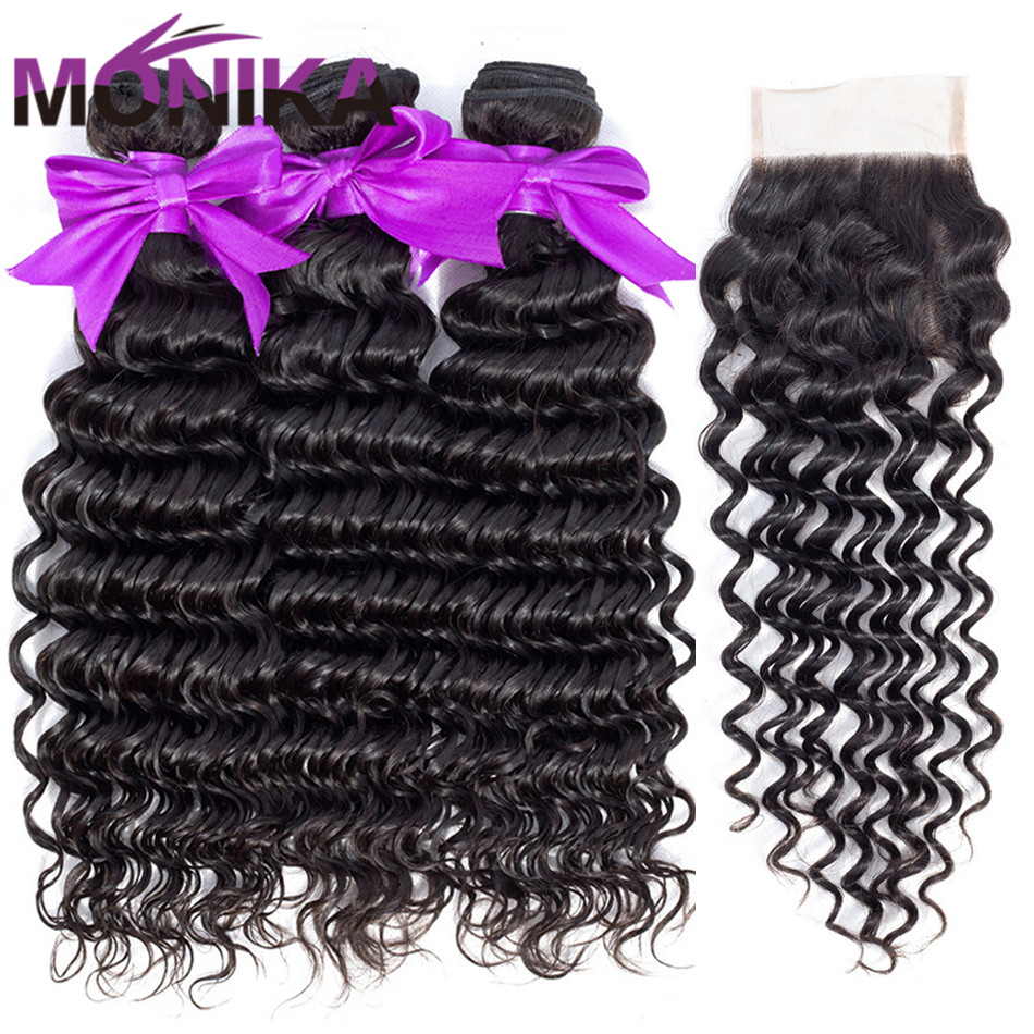 Monika Hair Deep Wave Bundles With Closure Cambodian Hair 3 Bundles with Closure Non Remy Human