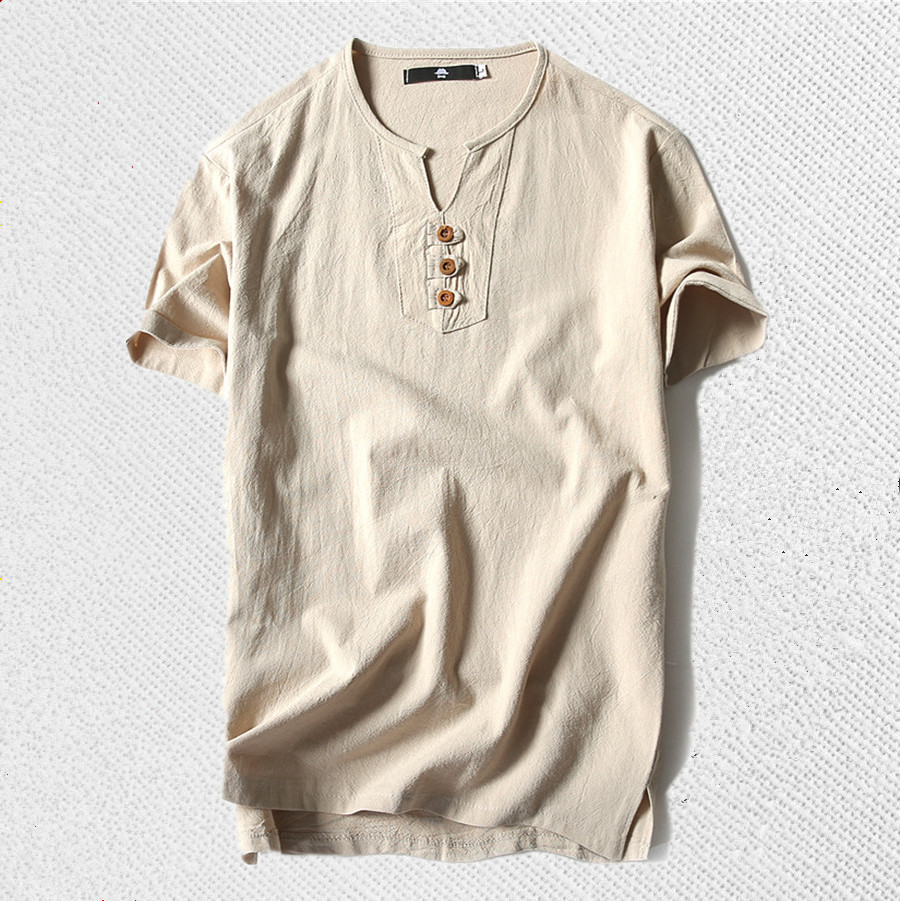 Free shipping Linen men big o-neck t shirt Chinese style fat guy plus size men's Casual short-sleeve T-shirt 7XL 8XL bust 15 5cm