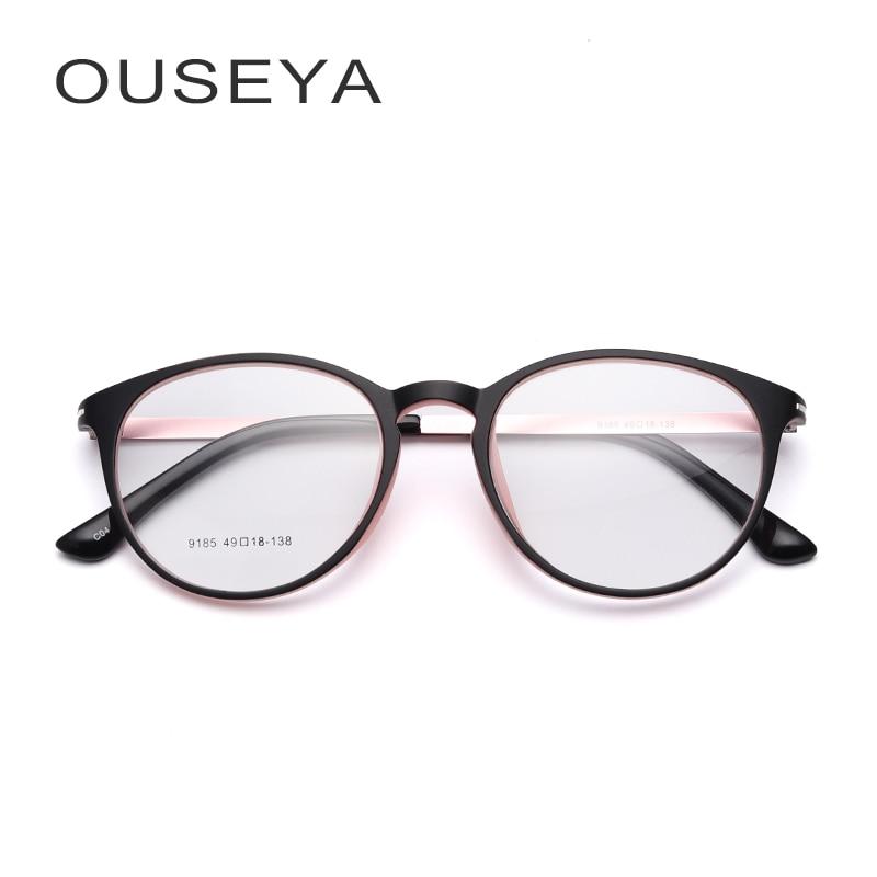 Gafas TR90 gafas marco mujeres claro moda Oval gafas ópticas No grado gafas Armacao De Oculos #9185