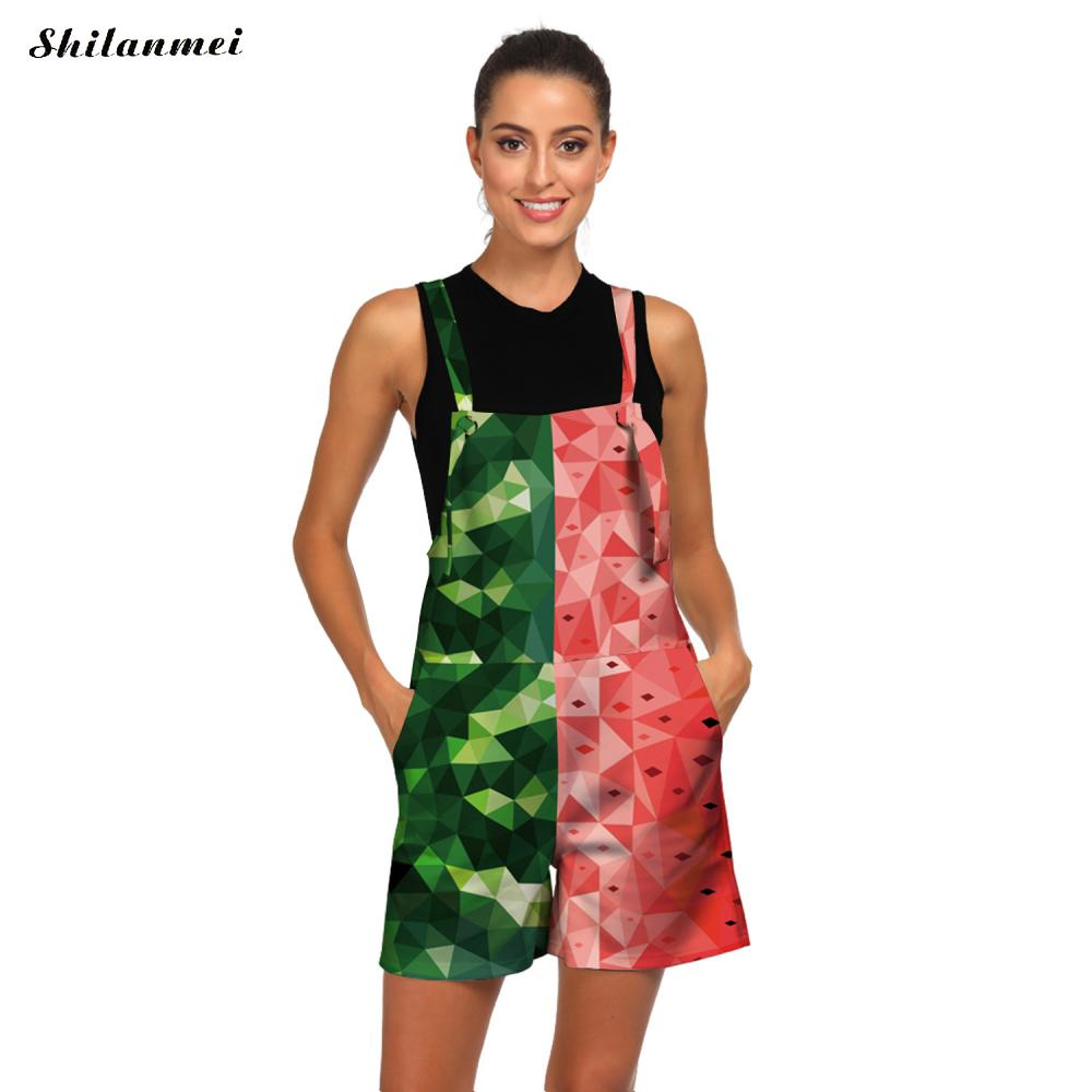 Jumpsuits Summer Watermelon-Pattern Rompers Short-Strap Printed Female Beach Casual Women