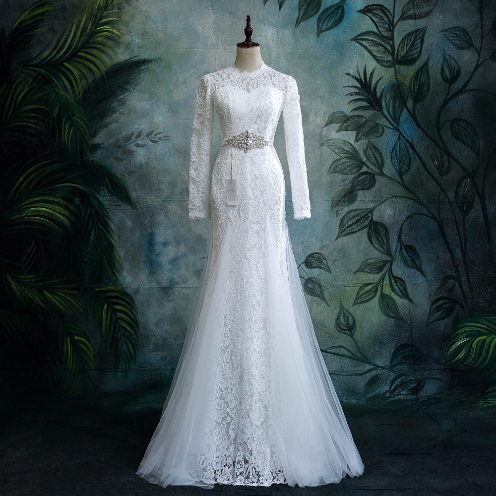 28914bc900 Real Photos Vestido De Novia Mermaid Wedding Dresses Court Train Long  Sleeve Custom Muslim Brides Dress Long Lace Bridal Gowns