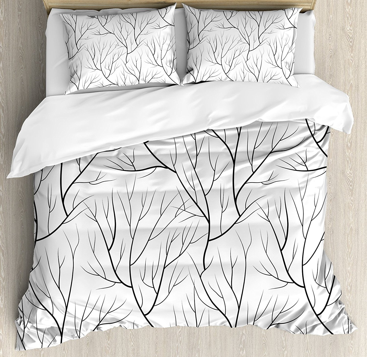 Winter Duvet Cover Set Winter Tree without Leaves Nature Theme Delicate Branches Pattern Japanese Style Bedding Set White BlackWinter Duvet Cover Set Winter Tree without Leaves Nature Theme Delicate Branches Pattern Japanese Style Bedding Set White Black