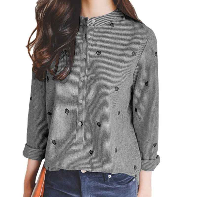 ba85ba4f80f Retro Long Sleeve Womens Cotton Tops Casual Loose Floral Embroidery Shirt  Blouse