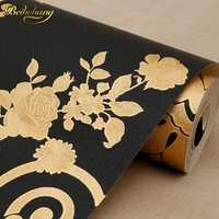 Beibehang Luxury Black Glitter Wallpaper TV Background Wall Paper Gold Foil Wallpaper Ceiling Wallcovering Papel De