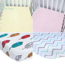 EGMAO BABY Bed Fitted Sheet 100% Cotton 9 Colors Crib Triangle Design Bedding Protector Cover For Baby Girl Boys 120*70cm