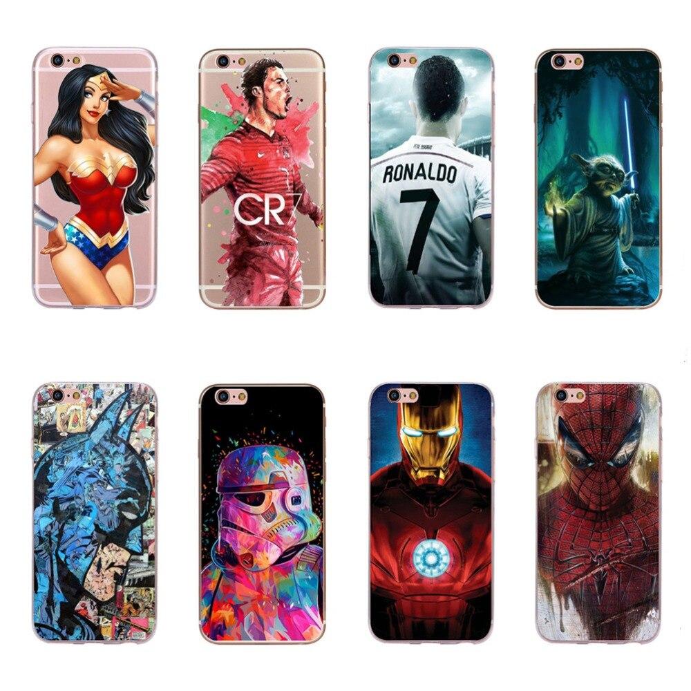 Для iPhone 6 6s чехол для телефона Fundas Прохладный Герой Бэтмен Супермен iroman Человек-паук Wonder Woman Звездные войны Дизайн корпус мобильного телефон...