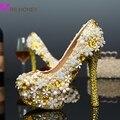Ручной бесплатная доставка мода женщин моделирование событие обувь шику золото сверкающий бриллиант обувь свадебные хрустальные туфли
