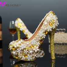 Handmade Free Shipping Fashion Womens Modeling Event Shoes Bling Gold Sparkling Diamond Wedding Shoes Bridal Crystal Shoes