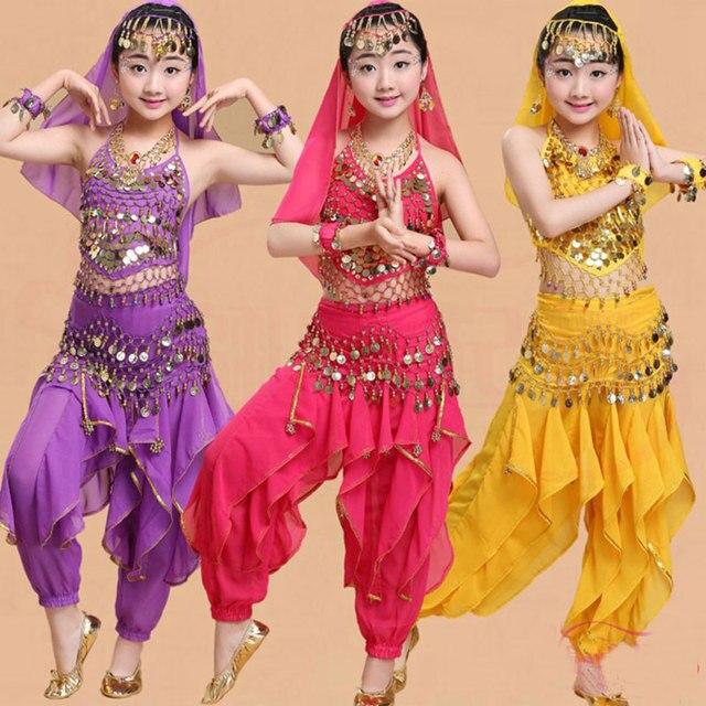 Cô gái Múa Bụng Trang Phục Bộ Trẻ Em Ấn Độ Nhảy Đầm Trẻ Em Bollywood Dance Trang Phục cho Bé Gái Hiệu Suất Nhảy Mặc 6 Màu