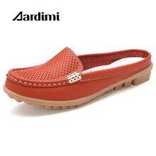 Moda slip-on mujeres sandalias zapatos de verano zapatillas casuales sandalias planas suaves de Cuero Genuino de la señora pisos zuecos zapatos de mujer diapositivas