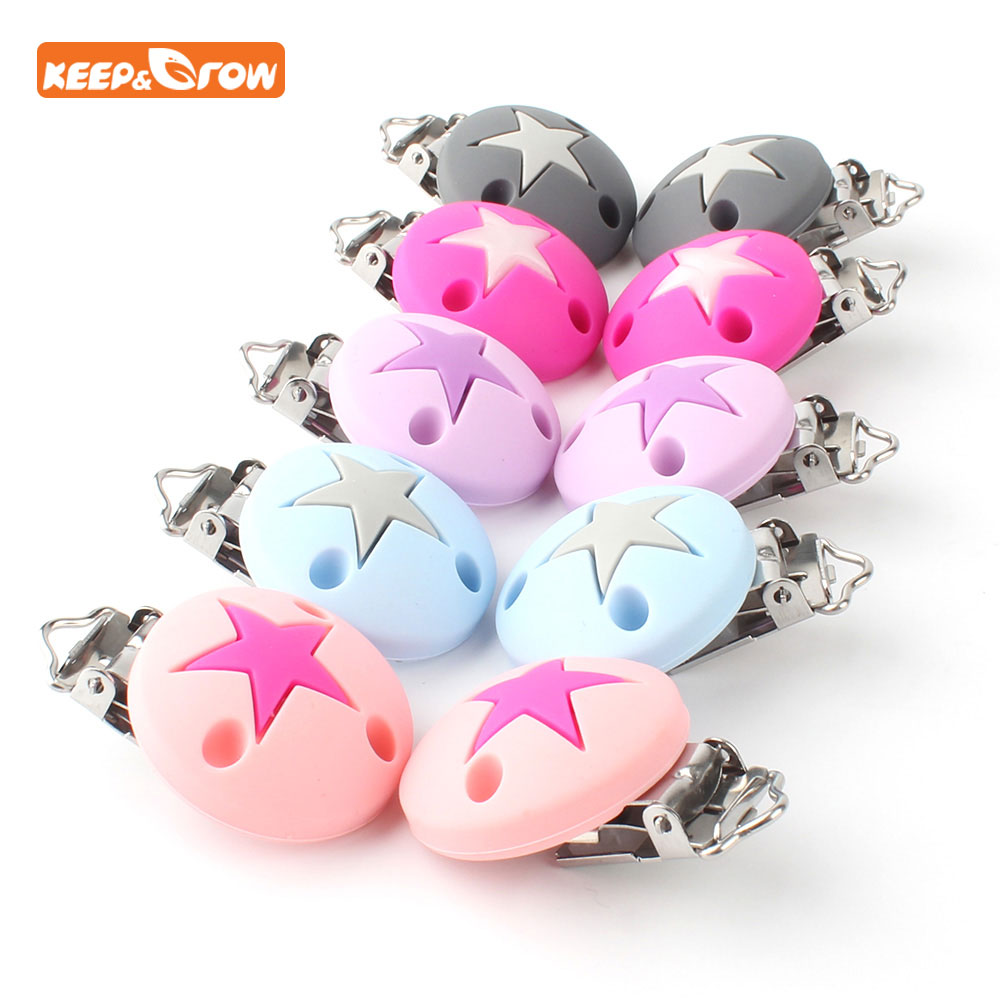 Keep&grow 1pc Stars Pacifier Clips Round Silicone Pacifier Chain Holder Baby Teether Nipple Clasps DIY Tool Dummy Clip Adapters