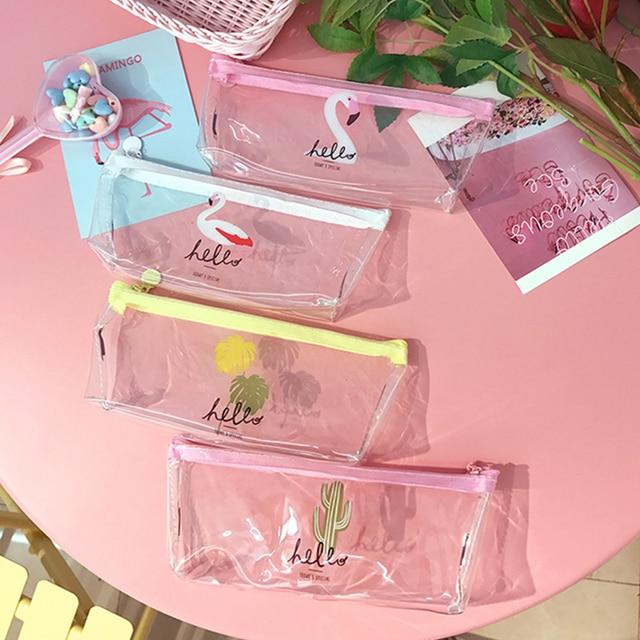 Kawaii Фламинго пенал милый прозрачный школьные сумки карандаш для девочек Канцелярские сумка Офис Школьные принадлежности Эсколар