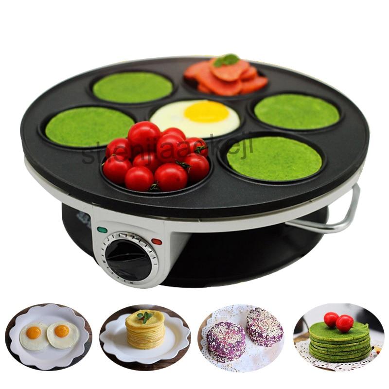 Home Crepe Maker Non-stick Pancake Machine Multifunction Electric Baking Pan Machine 7-hole Pancake Machine Breakfast Machine1pc