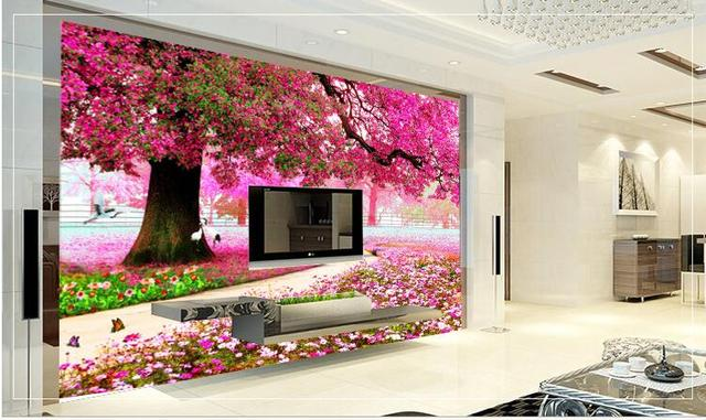 Photo Wallpaper 3d Wallpaper Vinyl Mural Wallpaper Cherry Blossom Living  Room Wall Decor Wall Coverings Flower