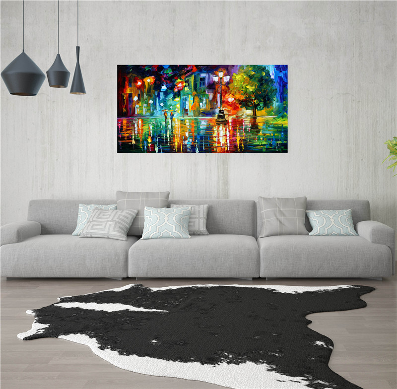 Home Decor Home & Garden Poster Street Night Rain Modern Abstract Oil Painting Print On Canvas Wall Pictures Art Craft Decorative Painting Mb6-074 Last Style