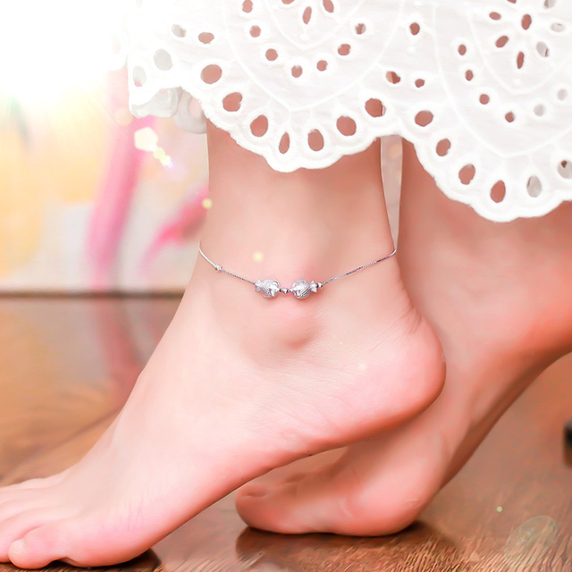 1ce48bd93a 925 Sterling Silver with Platinum Plated Cute Kiss-fish Anklets Women  Fashion Brand Jewelry Accessories