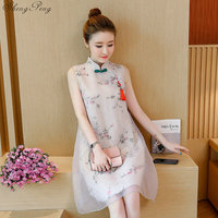 2019 summer chinese women evening party dress crane embroidery modern cheongsam sleeveless party white lace qipao dress V1608