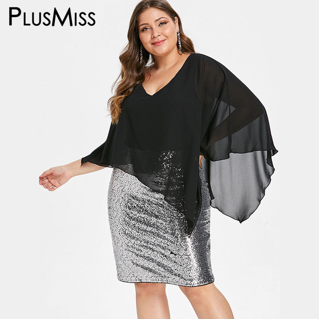 030f772b61a15 PlusMiss Plus Size Chiffon Mesh Overlay Sequin Elegant Evening Party Dresses  Women Big Size Cape Dress Robe Femme 5XL XXXXL XXXL
