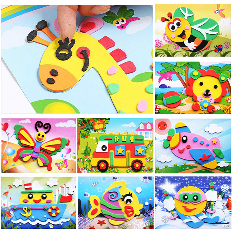 1pc 5pcs 10pcs/lot Different Variety 3D EVA Foam Sticker Puzzle Game DIY Cartoon Animal Learning Education Toys For Children