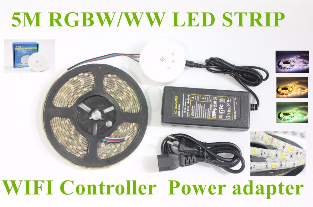 Waterproof IP20/65/67 5050 RGBW WW LED Strip 5M 300 Led SMD Magic UFO LED WIFI Controller 12V 5A Power Adapter Flexible Light 300 5050 smd led 6500k white light strip led dimmer 12v 5a power converter us plug adapter set