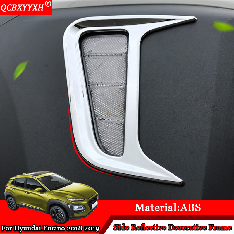 For Hyundai Kona Kauai Encino 2018 2019 Car Steering Wheel: QCBXYYXH Car Styling ABS Side Reflective Decorative Frame