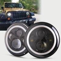 For Jeep Wrangler JK CJ LED Car Halo Ring Round Car Light Souce 2PCS H4 7