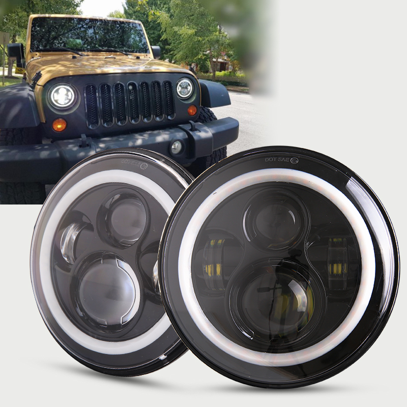 For Jeep Wrangler JK CJ LED Car Halo Ring Round car Light Souce 2PCS H4 7 Inch 45W Angel Eyes Auto Headlight Kit DC10-30V Hi/Low 7inch round halo headlights 45w wrangler jk high low beam headlamp 7 angel eyes projector head light for jeep land rover