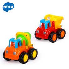 6PC/Lot HUILE TOYS 326CD Wholesale Toy Push & Go Friction Powered Car Toys Mixer Truck and Dumper for Children Boy 1-3 year old