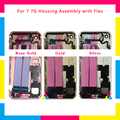 10Pcs New Back Middle Frame Chassis Full Housing Assembly Battery Cover with Flex Cable For iphone 7 7G or 7 Plus DHL