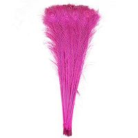 Wholesale Rose Red Natural Peacock feather 50 100 200pcs 70 80CM/28 32inch DIY Feathers for Crafts Wedding decoration plumes