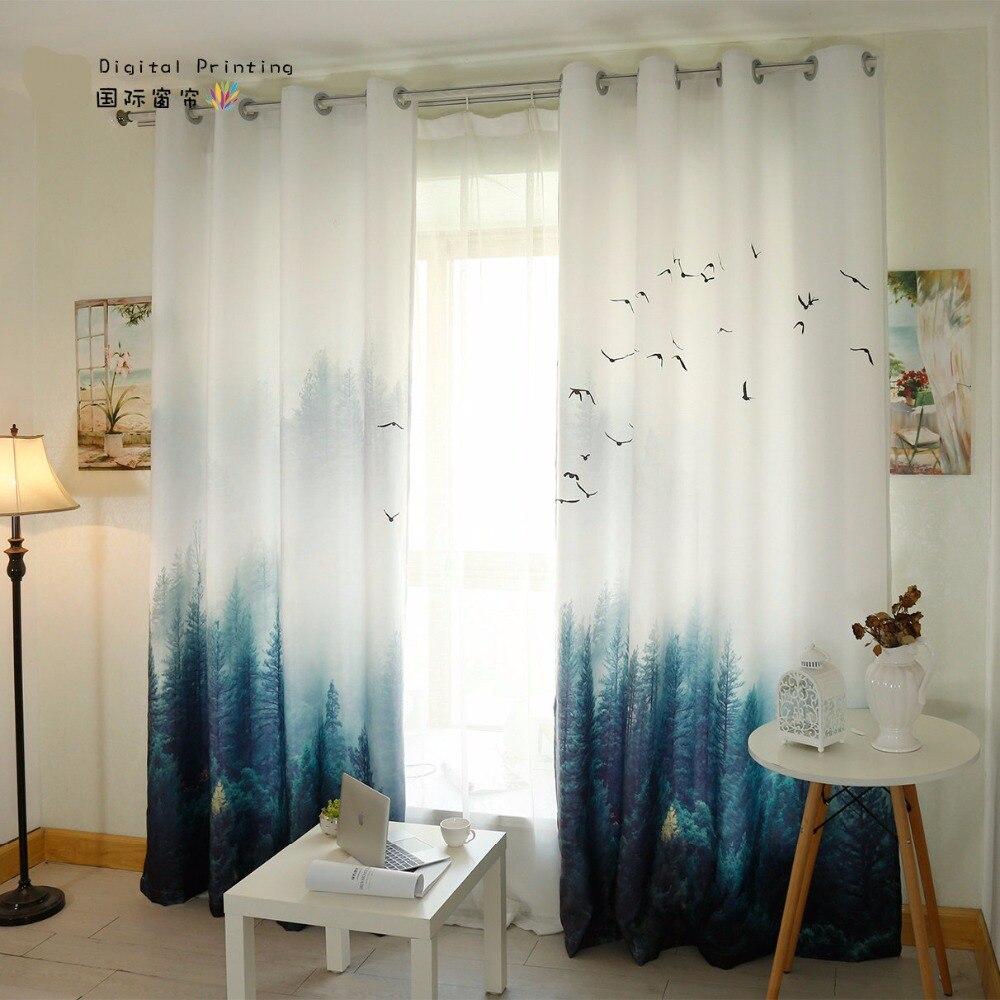 Custom Made 2x Window Drapery Living Room Curtain Window Dressing Tulle Sheer Curtain 200x260cm Scenery Pine Tree White