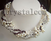 6 Str White Pearls Clear Crystal Garnet Chip Necklace