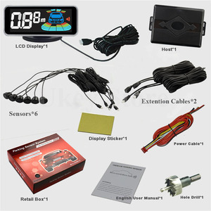 Image 2 - Автомобильная система парктроника с 6 датчиками и дисплеем, Универсальный светодиодный радар детектор для парковки с красным голосовым управлением