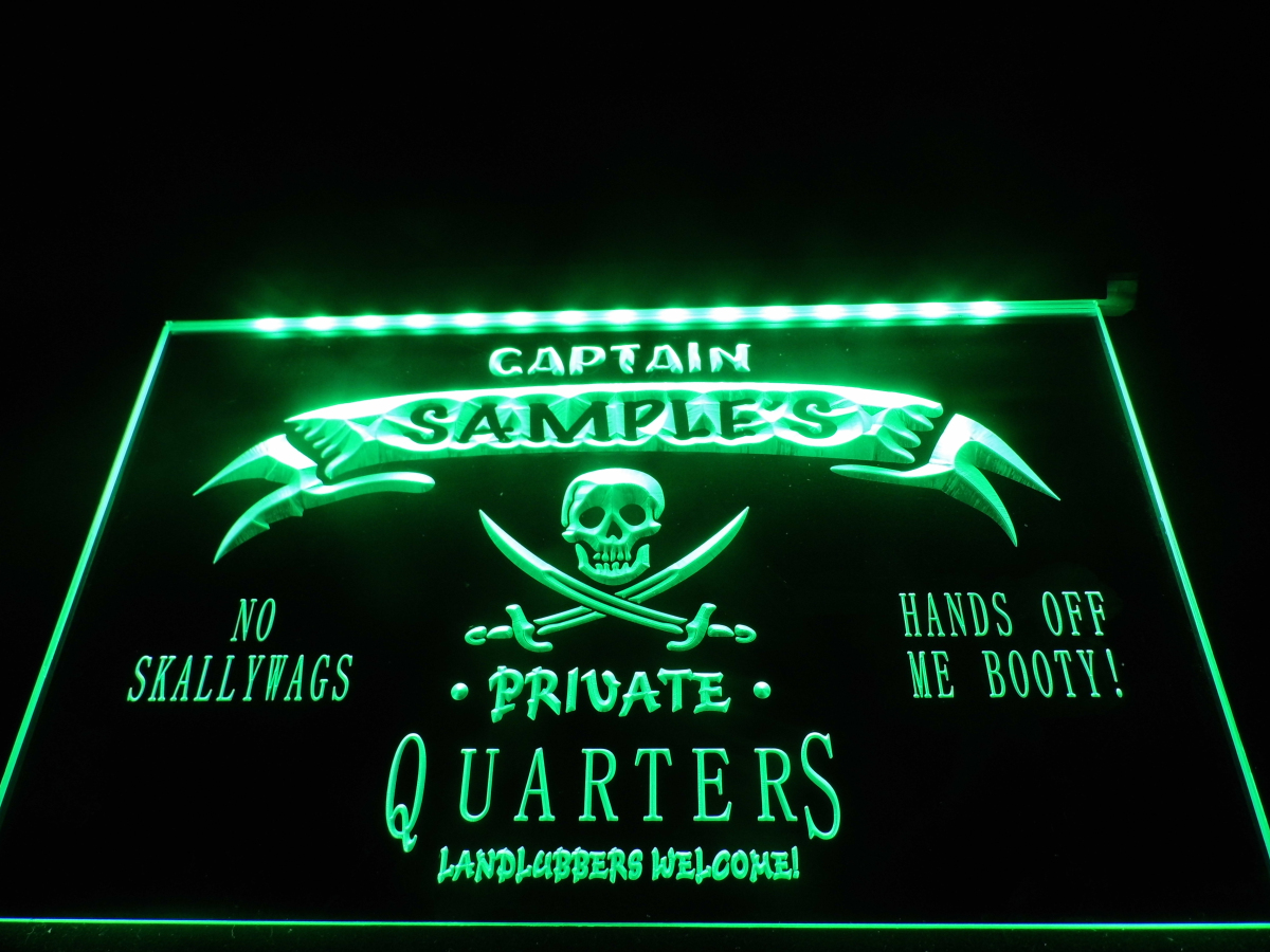 dz024 name personalized custom private quarters pirate man cave neon sign hang sign home decor. Black Bedroom Furniture Sets. Home Design Ideas