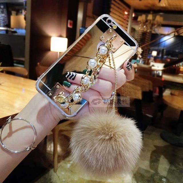 Bling Diamant boules de poils coque cas Pour iPhone X 8 7 plus 5 5S se 6 6 s plus 4 4S Miroir Chaîne capa Tpu Couverture pompom Fundas carcasa