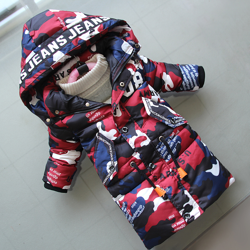 BibiCola Jacket For Boys 2018 New Fashion Hooded Winter Jackets Graffiti Camouflage Parkas For Boys Thick Long Coat Kids Clothes цена