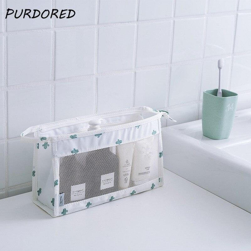 PURDORED 1 pc Cactua Cosmetic Bag Women Make Up Bag Clear Mesh Organizer Pouch Travel Toiletry Bag Kit toilettas Dropshipping