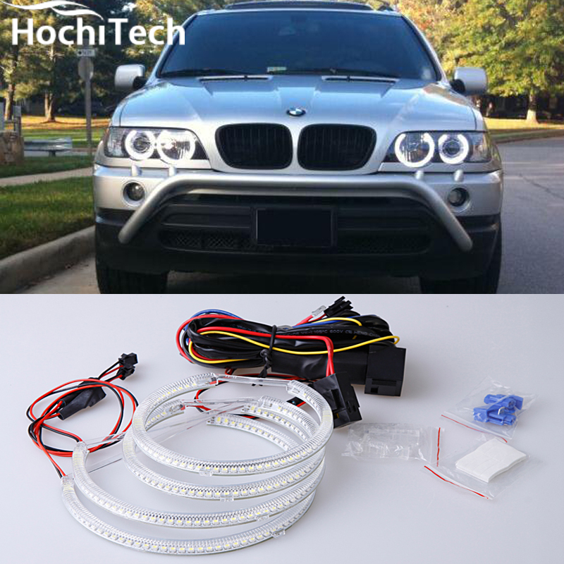 Ultra bright SMD white LED angel eyes 1600LM 12V halo ring kit for BMW E53 X5 1999 2000 2001 2002 2003 2004 2005 2006 super bright led angel eyes for bmw x5 2000 to 2006 color shift headlight halo angel demon eyes rings kit
