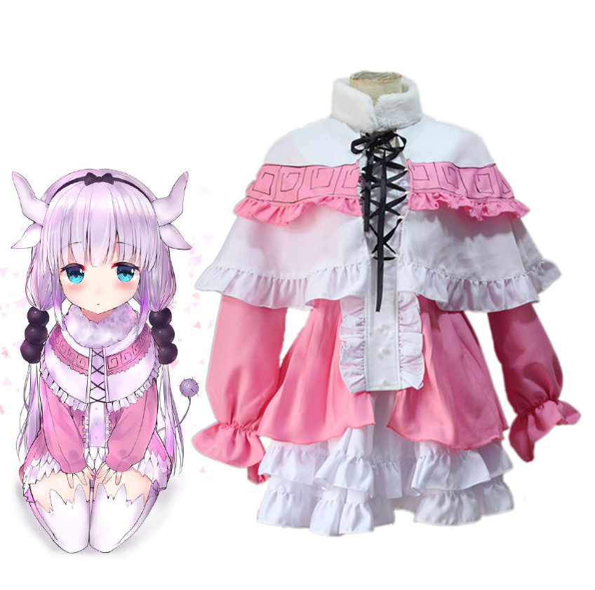 Kobayashi san Chi no Maid Dragon Kanna Kamui Maid Dress With Headwear Cosplay Costume Miss Kobayashi's Dragon Lolita Dress