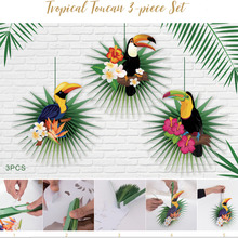 Set of 3 DIY Tropical Toucan Palm Leaves Paper Fans Wall Hanging Decorations Woodland Jungle Animal Summer Luau Hawaiian Party 12pc summer party decorations sunflower pom poms hanging swirls paper fans tropical hawaiian luau sunshine birthday shower