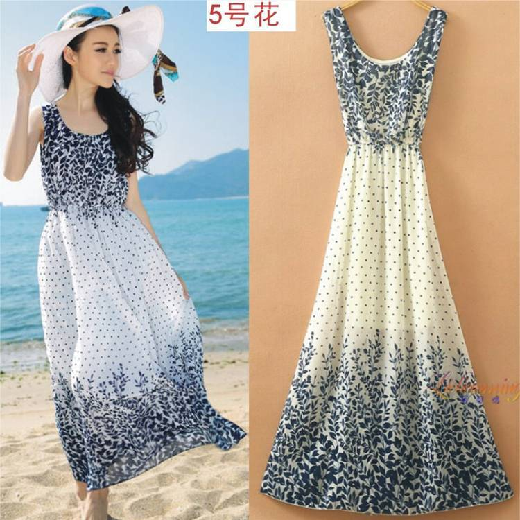 0b4e1d3eb7 Women dress One piece Sleeveless Floral Chiffon Bohemian dress Long Female Beach  dress Holiday 2015 Summer Plus size fz044-in Dresses from Women's Clothing  ...
