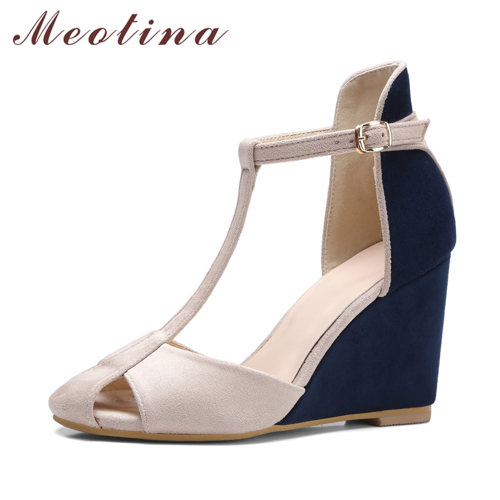 Meotina Shoes Women Pumps High Heels Wedges Heels T-Strap Shoes Spring Ladies High Heel Shoes Cutout Party Pumps Summer Blue Red meotina genuine leather women shoes female plaid party shoes block heel bow strap high heels kid suede ladies pumps 2018 spring