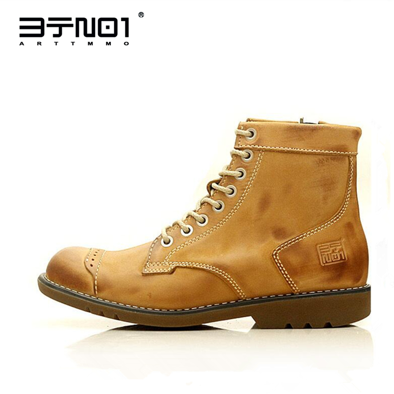 US Size Hight Quality Retro Mens Martin Ankle Boots Genuine Leather Lace Up Round Toe Zip Work Safety Man Winter Shoes
