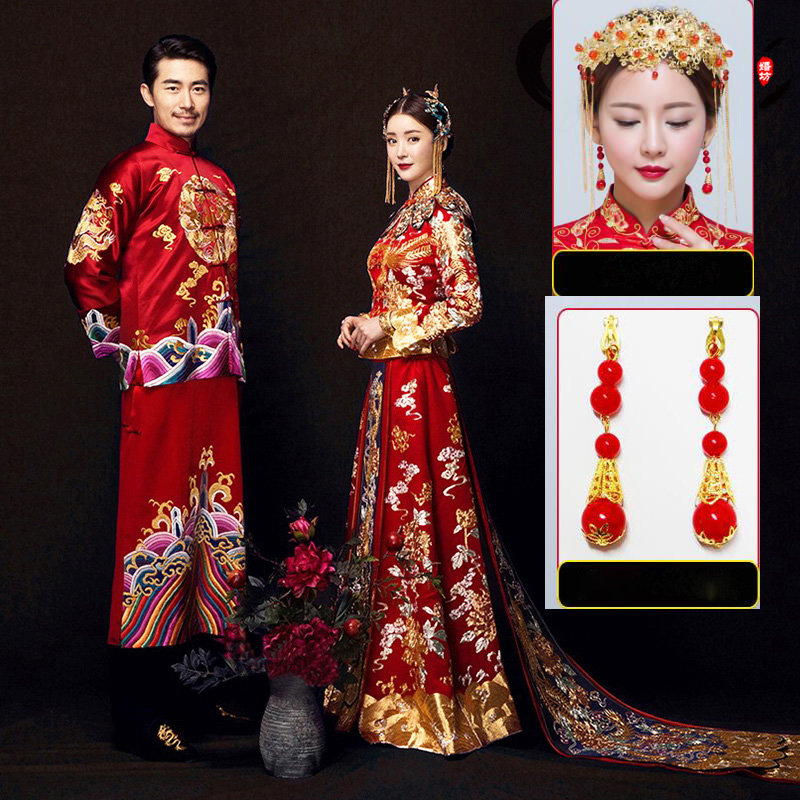 De mariée Longue Robe De Mariage Chinois Cheongsam Qipao Rétro Longue Fleur Phoenix Impression Robe Chinois couple Tenue De Mariage marié
