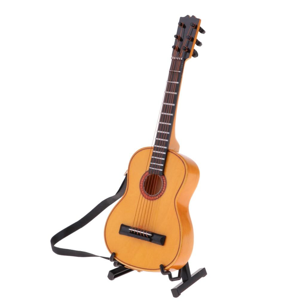 1//6 Dollhouse Acoustic Guitar Miniature Dolls House Wooden Handmade Crafts