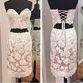 White Sweetheart Applique Lace Cocktail Dresses 2015 Mini Two Pieces Lace up Homecoming Dresses vestidos de formatura